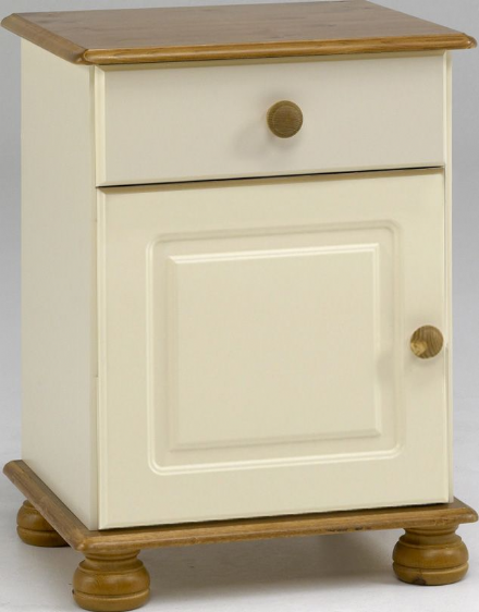 Richmond Cream And Pine - 1 Drawer, 1 Door Bedside Cabinet